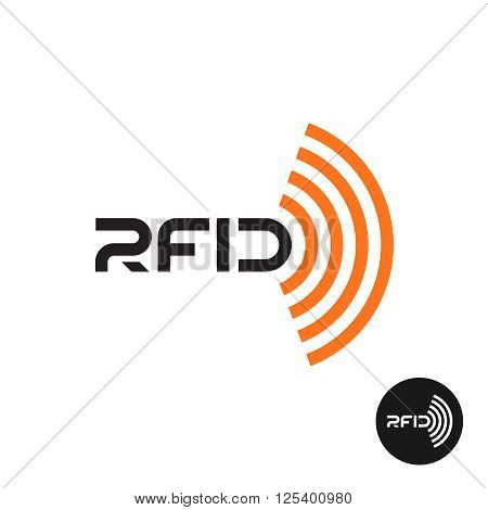 Rfid Tag Icon. Text Logo With Radio Wireless Waves.