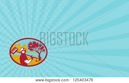 Business card showing illustration of a cleaner wearing hat holding broom on shoulder viewed from the side with pandanus tree and building and coast in the background set inside oval shape done in retro style.
