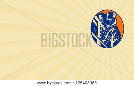 Business card showing illustration of a power lineman telephone repairman worker standing on electric pole with harness waving hand saying hellow viewed from low angle done in retro woodcut style.