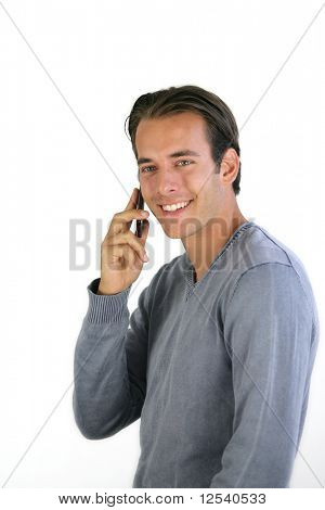 Portrait of a smiling man phoning