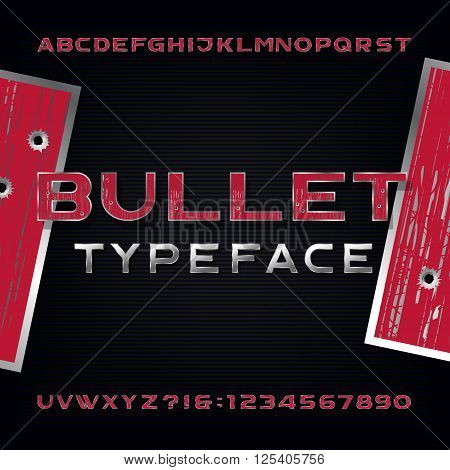 Bullet Hole Alphabet Vector Font. Distressed metallic letters and numbers with bullet holes and scratches on a dark background. Stock vector typeface for your design.