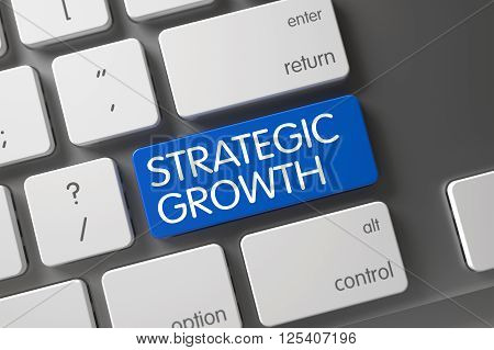 Strategic Growth Concept. Laptop Keyboard with Strategic Growth on Blue Enter Button Background, Selected Focus. Keyboard with Blue Button - Strategic Growth. Strategic Growth Keypad. 3D Render.