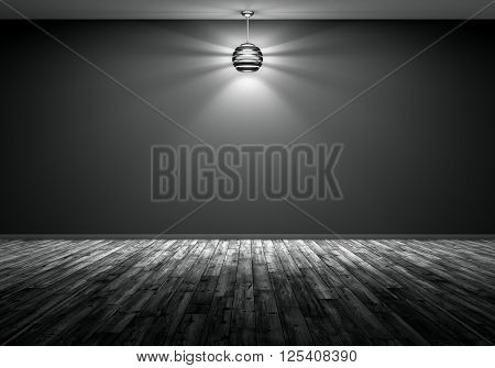 Lamp Over Black Wall Interior Background 3D Rendering