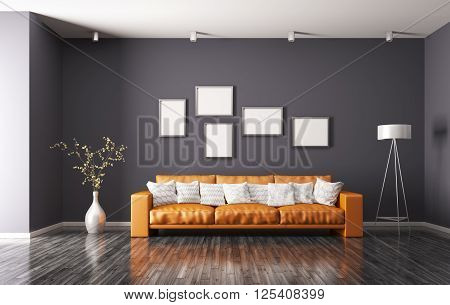 Modern Interior Of Living Room 3D Rendering