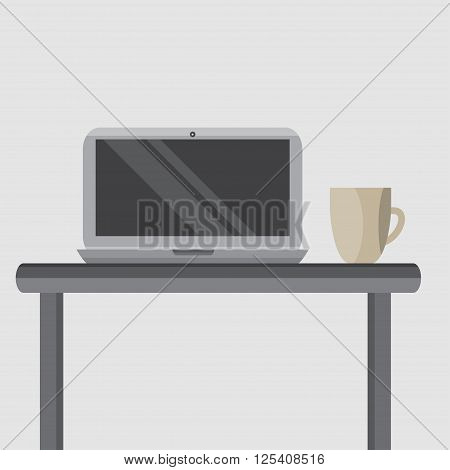 silver laptop on your desktop with a cup of coffee. flat graphics