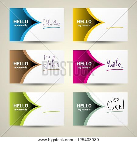 Hello My Name Is... Name Tag Set. Vector Business card set