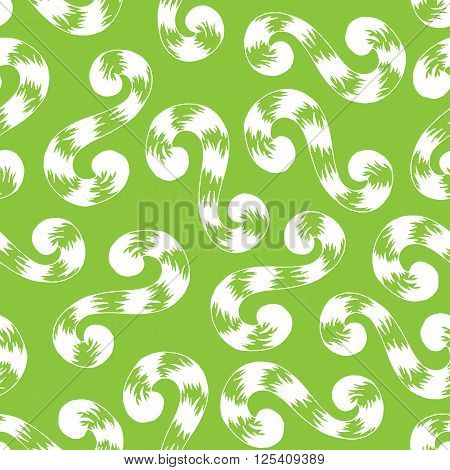 Seamless pattern of white whorls curlicues on green background