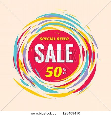 Sale discount 50% off creative vector banner. Special offer abstract circle layout and red, yellow and blue colors. Brush hand draw style.