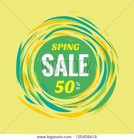 Spring sale discount 50% off creative vector banner. Special offer abstract circle layout in green colors. Brush hand draw style.