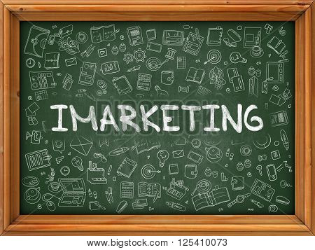 Imarketing - Hand Drawn on Green Chalkboard with Doodle Icons Around. Modern Illustration with Doodle Design Style.
