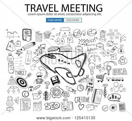 Travel for Business concept  with Doodle design style :finding routes, Best Prices, Hotel Classification . Modern style illustration for web banners, brochure and flyers.