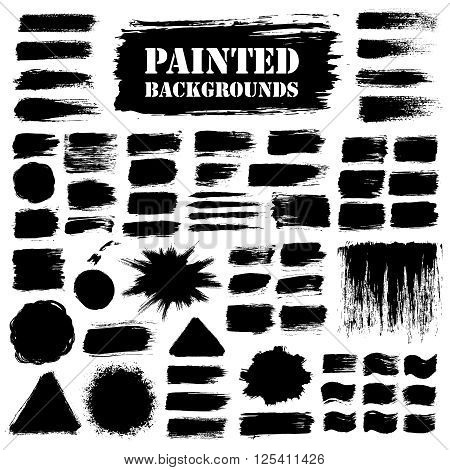 Black grunge background set, paint texture. Brush strokes with paint splash. Brush paint grunge border. Brush stroke vector, paint brush grunge texture, grunge banners, grunge elements for your design