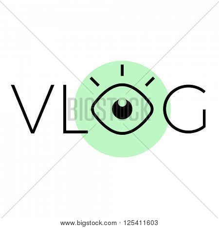 vlog or video blog line icon