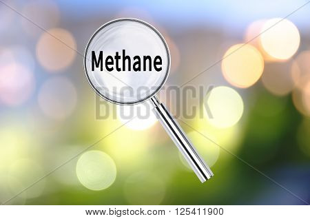 Magnifying lens over background with text Methane, with the blurred lights visible in the background. 3D rendering
