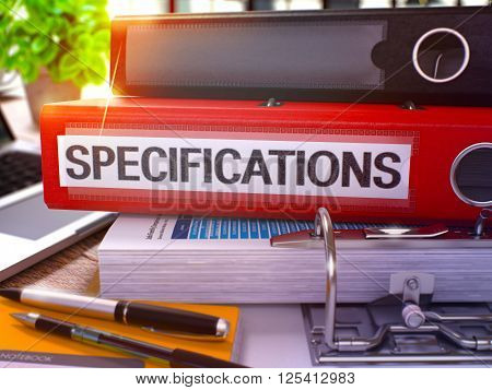 Red Office Folder with Inscription Specifications on Office Desktop with Office Supplies and Modern Laptop. Specifications Business Concept on Blurred Background. Specifications - Toned Image. 3D.