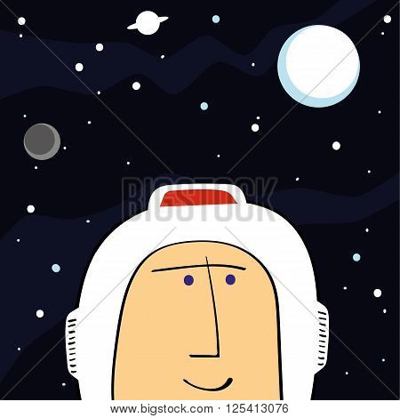 Face of a retro spaceman in his helmet against a backdrop of stars and planets in space