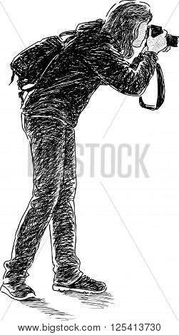 Vector drawing of a tourist takes picture.