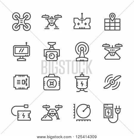 Set line icons of quadrocopter, hexacopter, multicopter and drone isolated on white. Vector illustration