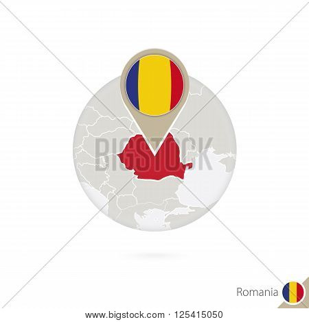 Romania Map And Flag In Circle. Map Of Romania, Romania Flag Pin. Map Of Romania In The Style Of The