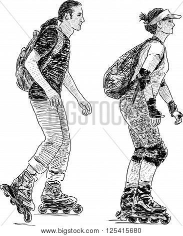 Vector drawing of the young couple rollerblading.