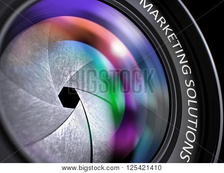 Marketing Solutions Concept. Closeup of a Lens of Digital Camera with Beautiful Color Lights Reflections. Marketing Solutions Written on a Photo Lens. 3D.