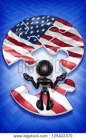 Flag Puzzle 3D Illustration