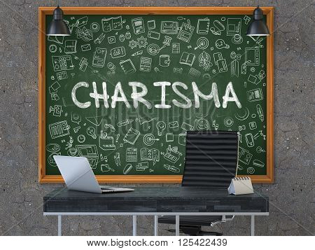 Charisma - Handwritten Inscription by Chalk on Green Chalkboard with Doodle Icons Around. Business Concept in the Interior of a Modern Office on the Dark Old Concrete Wall Background. 3D.