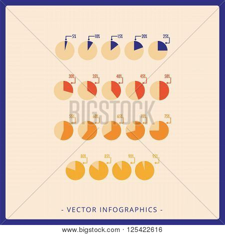 Multicolored vector template for Harvey balls flat diagram with different percentage