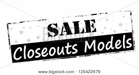 Rubber stamp with text sale closeouts models inside vector illustration