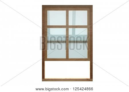 Opening double-hung sash window against white background