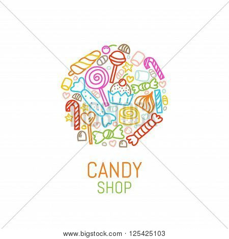 Vector logo template of candy shop with sweets in linear style. Great for candy shop, fabric, bakery, cafe design. Vector illustration