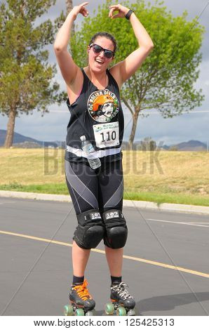 Menifee California USA/April 9 2016:Photo of skater in the Menifee Half Marathon & 5K