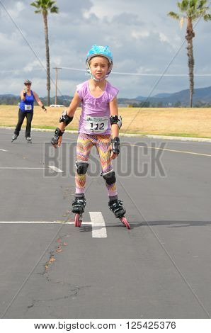 April 9 2016:Photo of skater in the Menifee Half Marathon & 5K which is in Menifee California USA