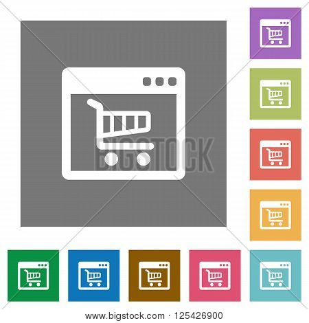Webshop flat icon set on color square background.