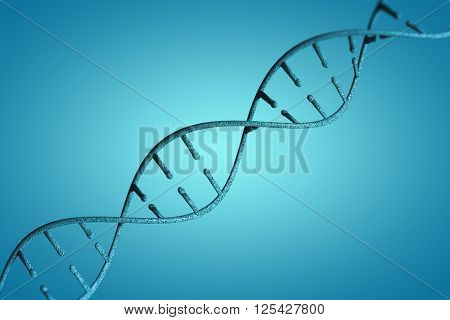 Image of dna helix against blue vignette background