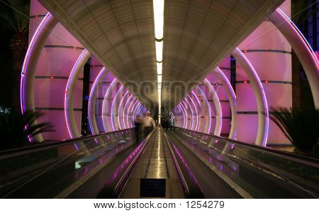 Escalator With Colorful Lights