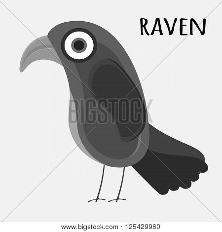 Black raven. Raven flat cartoon wildlife bird and raven flight ornithology blackbird. Crow raven with black wings. Cartoon style.