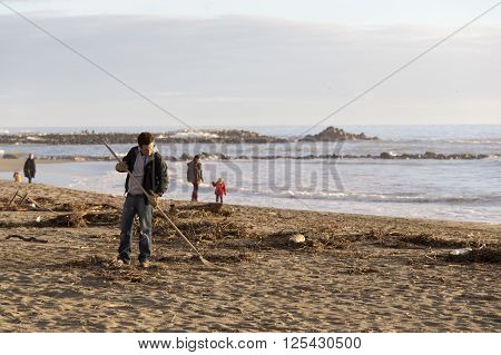 Volunteer Man Cleans The Beach
