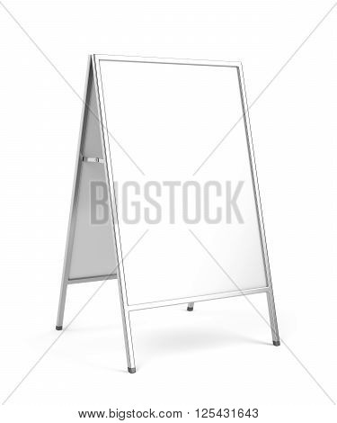 Advertising stand with silver frame on white background, 3d illustration