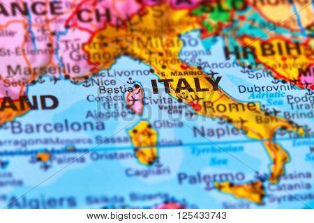 Italy, Country In Europe On The Map