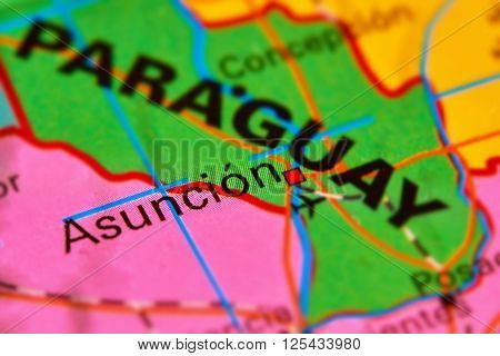 Asuncion, Capital City Of Paraguay On The Map