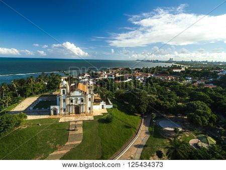 Aerial View of Church of Saint Anthony of Carmo (Igreja do Carmo), Olinda, Pernambuco, Brazil