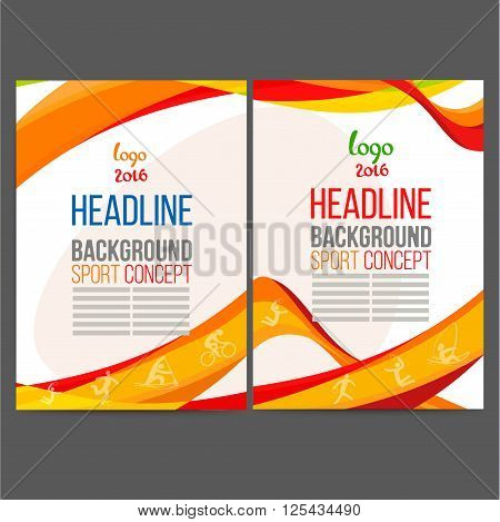 Abstract vector template design, brochure, Web sites, page, leaflet, with colored lines and waves, logo and text separately Sport concept banners 2016
