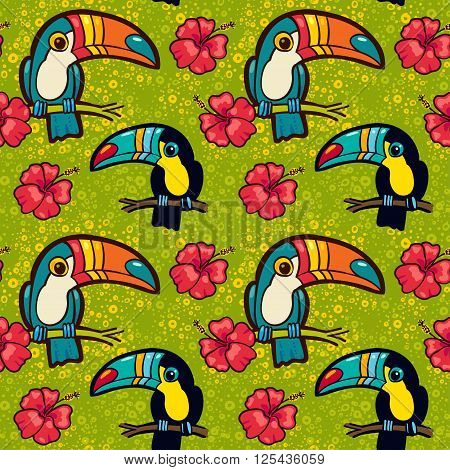 Toucan and Hibiscus. Tropical Green seamless pattern. Vector ornament in cartoon style. American bill ramphastida. Texture for scrapbooking wrapping paper web textile surface design fashion