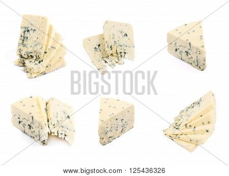 Danablue danish blue semi-soft cheese in different foreshortenings isolated over white background, set of six poster