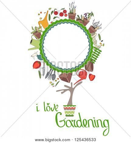 Stylized tree in cute flower pot. Topiary with gardening tools. Blank frame for text. Phrase I love Gardening.