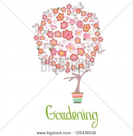 Stylized tree in cute flower pot. Topiary with different flowers