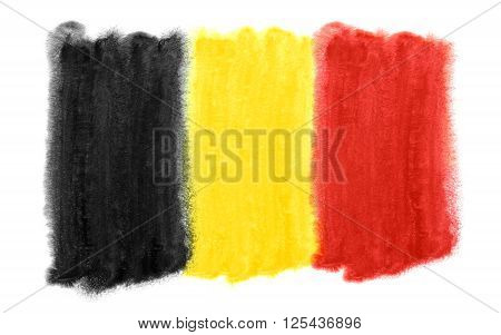a watercolor illustration of the Belgium flag