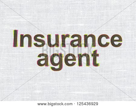 Insurance concept: Insurance Agent on fabric texture background
