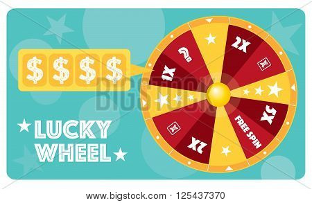 Lucky wheel flat illustration vector text is outlined